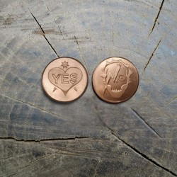 """Copper coin, token """"YES / NO"""""""